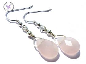 Rose Quartz Faceted Teardrop Earrings